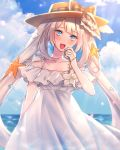 1girl :d blue_eyes blush bow clouds day dress fate/grand_order fate_(series) hat hat_bow highres long_hair looking_at_viewer marie_antoinette_(fate/grand_order) marie_antoinette_(swimsuit_caster)_(fate) moe_(hamhamham) open_mouth outdoors plaid plaid_ribbon ribbon seashell_hair_ornament silver_hair smile solo starfish_hair_ornament twintails white_dress yellow_hat