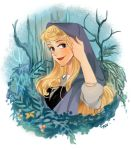 1girl ano_(sbee) artist_name aurora_(disney) blonde_hair blue_eyes disney dress flower frame hand_in_hair long_hair looking_at_viewer nature simple_background sleeping_beauty smile solo_focus tree veil white_background