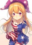 1girl american_flag_dress american_flag_legwear arms_behind_back asymmetrical_clothes asymmetrical_legwear bangs blonde_hair blush closed_mouth clownpiece commentary_request cowboy_shot eyebrows_visible_through_hair gradient gradient_background hat highres long_hair looking_at_viewer neck_ruff neno_(nenorium) pantyhose polka_dot_hat purple_hat short_sleeves solo touhou very_long_hair violet_eyes