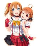 2girls absurdres ahoge black_bow blue_eyes blush bow breasts brown_hair collarbone eyebrows_visible_through_hair fingerless_gloves gloves hair_bow highres kousaka_honoka large_breasts looking_at_viewer love_live! love_live!_school_idol_project love_live!_sunshine!! multiple_girls navel open_mouth orange_hair pink_eyes puffy_short_sleeves puffy_sleeves red_gloves shiokazunoko short_hair short_ponytail short_sleeves side_ponytail smile takami_chika v