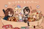 ayer chabo213 chibi djeeta_(granblue_fantasy) food granblue_fantasy makira_(granblue_fantasy) mayonaise siegfried_(granblue_fantasy) superstar_(granblue_fantasy) takoyaki tentacle