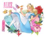 1girl alice_(wonderland) alice_in_wonderland animal ano_(sbee) apron artist_name blonde_hair blue_dress blue_eyes bottle butterfly cat character_name cup disney dress flower hair_ornament hair_ribbon highres leaf long_hair looking_away mushroom paint plant ribbon rose saucer shoes simple_background solo_focus tag tea teacup thigh-highs white_background