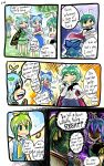 4girls antennae aura blue_bow blue_dress blue_eyes blue_hair blue_sky bow butterfly_wings cape cirno closed_eyes comic commentary crossed_arms daiyousei dark_aura dress engrish eternity_larva evil_smile fairy_wings flying_sweatdrops gapangman grass green_dress green_eyes green_hair grin hair_bow hand_behind_head hand_on_another's_shoulder hand_on_own_chin highres ice ice_wings leaf leaf_on_head left-to-right_manga multiple_girls no_nose orange_background puffy_short_sleeves puffy_sleeves purple_background ranguage red_eyes red_ribbon ribbon short_hair short_sleeves side_ponytail signature sky smile sparkle spoilers standing thumbs_up touhou tree wings wriggle_nightbug yellow_bow