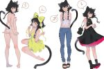 1girl ;o animal_ears arms_behind_back aruterra ass bare_legs barefoot bikini black_hair boots bow braid breasts bright_pupils cat_ears cat_tail cleavage_cutout covered_navel dress fang fingers_together flower from_behind hair_bow hair_flower hair_ornament highres lavender_eyes looking_at_viewer looking_back medium_breasts midriff multiple_views one_eye_closed original own_hands_together short_hair_with_long_locks sidelocks simple_background sitting small_breasts speech_bubble standing string_bikini swimsuit tail tail_bow twin_braids wariza white_background white_bikini white_pupils yellow_dress
