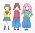 3girls adjusting_glasses ayu_(mog) blonde_hair braid brown_eyes brown_hair closed_eyes glasses hair_ribbon hand_on_hips hashimoto_nyaa juushimatsu's_girlfriend long_skirt multicolored_hair multiple_girls one_eye_closed open_mouth osomatsu-san pink_hair pleated_skirt ribbon single_braid skirt sleeves_past_wrists slippers smile socks sweater twin_braids twintails two-tone_hair yowai_totoko