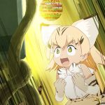>:d 2girls :d animal_ears bare_shoulders blonde_hair bow bowtie cat_ears elbow_gloves gloves kemono_friends long_hair meta multiple_girls niconico_comments official_art open_mouth sand_cat_(kemono_friends) shirt sleeveless smile surprised tail tatsuki_(irodori) translation_request tsuchinoko_(kemono_friends) white_shirt