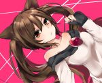 1girl alternate_hairstyle animal_ears bangs bare_shoulders brooch brown_eyes brown_hair closed_mouth dutch_angle eyebrows_visible_through_hair hair_between_eyes imaizumi_kagerou jewelry karasusou_nano long_hair looking_at_viewer pink_background sleeves_past_wrists solo touhou twintails upper_body wolf_ears