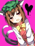 1girl animal_ears bangs blush bow bowtie brown_hair cat_ears cat_tail chen dutch_angle eyebrows_visible_through_hair green_hat hat heart highres karasusou_nano long_hair long_sleeves looking_at_viewer mob_cap open_mouth pink_background pink_eyes short_hair simple_background solo tail touhou yellow_bow yellow_bowtie