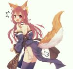 1girl :o animal_ears ass bare_shoulders blue_kimono blue_legwear blush bow cosplay detached_sleeves embarrassed fate_(series) fox_ears fox_tail from_behind hair_bow japanese_clothes kamikaze_(kantai_collection) kantai_collection kimono long_hair looking_at_viewer looking_back obi red_eyes redhead sash short_kimono simple_background solo tail tamamo_(fate)_(all) tamamo_no_mae_(fate) tamamo_no_mae_(fate)_(cosplay) thigh-highs white_background yazuishou_ray
