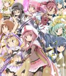 6+girls :d ;d akemi_homura aqua_hair black_hair blonde_hair blue_eyes blue_hair bow_(weapon) braid breasts brown_hair bubble_skirt capelet character_request corset crown detached_sleeves drill_hair everyone gloves goggles hairband highres hood horn kaname_madoka kinfuji large_breasts long_hair magical_girl mahou_shoujo_madoka_magica midriff miki_sayaka multiple_girls one_eye_closed open_mouth pantyhose pink_eyes pink_hair pink_skirt pleated_skirt ponytail puffy_sleeves purple_skirt red-framed_eyewear red_eyes redhead ribbon sakura_kyouko short_hair short_twintails sidelocks skirt smile tiara tomoe_mami twin_drills twintails violet_eyes wavy_hair weapon white_gloves yellow_eyes