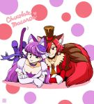 10s 2girls animal_ears azuki_osamitsu bangs blunt_bangs breasts cat_ears cat_tail choker cleavage commentary_request cure_chocolat cure_macaron dress earrings elbow_gloves eyebrows_visible_through_hair feet_up gloves hair_over_one_eye hat jewelry juliet_sleeves kirakira_precure_a_la_mode long_hair long_sleeves lying multiple_girls on_stomach pantyhose precure puffy_short_sleeves puffy_sleeves purple_hair purple_legwear red_dress red_eyes redhead short_sleeves smile tail top_hat translation_request violet_eyes