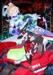 1boy 1girl black_hair blaster_master_zero blonde_hair blue_eyes closed_eyes earth eve_(blaster_master_zero) fingerless_gloves gloves ground_vehicle hair_ribbon highres inti_creates jason_frudnick long_hair looking_at_viewer military military_vehicle monster motor_vehicle natsume_yuji official_art outstretched_arms projected_inset ribbon short_hair sitting smile sofia_ii sofia_iii tank