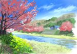 barn blue_sky cherry_blossoms clouds commentary_request day flower grass highres hill hirota_(masasiv3) nature no_humans outdoors river scenery sky stairs tree