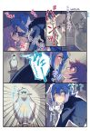 2girls adapted_costume all_fours angry aqua_eyes beak beak_hold bird blush breasts comic couple croix_meridies crowing dress english eye_contact female friends girl_on_top hair_between_eyes hand_on_another's_face highres holding holding_knife incipient_kiss knife lavender_hair little_witch_academia long_hair long_sleeves looking_at_another looking_at_viewer lying medium_breasts multiple_girls mutual_yuri nervous on_back open_mouth parted_lips red_eyes redhead scared shiny_chariot short_hair sleeping smile surprised translation_request tuxedo ursula_charistes vento yuri