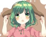 1girl :o animal_ears arms_up bangs blush eyebrows_visible_through_hair green_eyes green_hair holding_ears karasusou_nano kasodani_kyouko looking_at_viewer multicolored multicolored_background open_mouth short_hair short_sleeves solo touhou two-tone_background upper_body