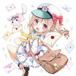 1girl :d arm_behind_head armpits bag bare_arms blonde_hair boots chico152 chinchilla_(animal) dress folded_leg gloves hat hat_ribbon highres holding japanese_postal_mark jumping letter looking_at_viewer looking_back neckerchief open_mouth original pink_boots ribbon satchel short_hair side_ponytail sleeveless sleeveless_dress smile socks solo striped striped_legwear triangle violet_eyes wax_seal white_background white_gloves yellow_neckerchief