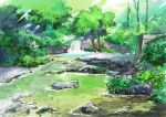 commentary day highres hirota_(masasiv3) nature no_humans outdoors river rock scenery tree water water_surface waterfall