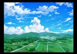 absurdres blue_sky border building city clouds cloudy_sky commentary_request day highres hirota_(masasiv3) house landscape mountain mountainous_horizon nature no_humans outdoors river road scenery sky
