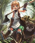 1girl :d abby_the_axe_girl artist_request axe bag bear blonde_hair blue_eyes boots brown_eyes cygames eyebrows_visible_through_hair facial_mark forehead_mark forest fur_trim gloves leaning log nature official_art open_mouth shadowverse shingeki_no_bahamut short_hair shorts smile weapon