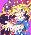 1girl american_flag_dress blonde_hair breasts clownpiece commentary_request furorina hat heart heart-shaped_pupils jester_cap long_hair looking_at_viewer medium_breasts neck_ruff pink_background polka_dot red_eyes short_hair simple_background smile solo star star_print striped symbol-shaped_pupils tongue tongue_out touhou upper_body