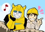 2boys 80s artist_request autobot blue_eyes blue_sky brown_eyes brown_hair bumblebee day helmet horns looking_at_viewer machine machinery male_focus mecha multiple_boys oldschool outdoors personification robot short_hair sky smile spike_witwicky teeth transformers