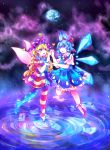 2girls :d :o absurdres american_flag_dress american_flag_legwear bangs blonde_hair blue_dress blue_eyes blue_hair cirno cloudytian clownpiece collared_shirt commentary diamond_(shape) dress earth fairy_wings frilled_dress frilled_legwear frills hair_ribbon hand_holding hands_together hat heart highres ice ice_wings interlocked_fingers jester_cap long_hair multiple_girls neck_ribbon neck_ruff open_mouth polka_dot polka_dot_hat purple_hat red_ribbon red_shoes ribbon ripples shirt shoes short_hair short_sleeves sky sleeveless sleeveless_dress smile space star star_(sky) star_tattoo starry_sky striped tattoo touhou very_long_hair violet_eyes white_legwear white_shirt wings