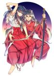 1boy 1girl animal_ears arm_around_waist arrow barefoot black_hair blue_eyes bow breasts dog_ears full_body highres higurashi_kagome inuyasha inuyasha_(character) japanese_clothes jewelry katana long_hair looking_at_viewer miko motobi_(mtb_umk) necklace orange_eyes pants pearl_necklace quiver robe sandals scabbard sheath sheathed silver_hair socks sword weapon wide_sleeves