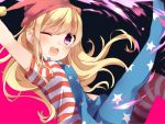 1girl ;d american_flag american_flag_legwear arm_up bangs blonde_hair blush clownpiece eyebrows_visible_through_hair hair_between_eyes hat jester_cap karasusou_nano long_sleeves looking_at_viewer multicolored multicolored_background one_eye_closed open_mouth short_sleeves sidelocks smile solo touhou two-tone_background violet_eyes