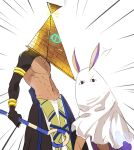 1boy 1girl bare_chest cowboy_shot dark_skin dark_skinned_male emphasis_lines fate/grand_order fate/prototype fate/prototype:_fragments_of_blue_and_silver fate_(series) looking_at_viewer nitocris_(fate/grand_order) nitocris_(swimsuit_assassin)_(fate) object_on_head parody purple_hair pvc_parfait pyramid_head rider_(fate/prototype_fragments) silent_hill silent_hill_2 simple_background staff white_background