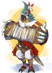 accordion bird brown_eyes highres instrument kass music open_mouth playing_instrument shimo_(s_kaminaka) solo standing the_legend_of_zelda the_legend_of_zelda:_breath_of_the_wild