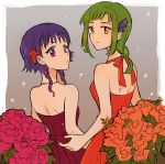 2girls alternate_costume back blush bouquet breasts dress fire_emblem fire_emblem:_seima_no_kouseki flower green_eyes green_hair hair_flower hair_ornament looking_at_viewer looking_back lute_(fire_emblem) maroon_dress multiple_girls noshima ponytail purple_hair red_dress short_hair sidelocks sleeveless sleeveless_dress small_breasts smile vanessa_(fire_emblem) violet_eyes
