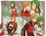 1boy 1girl armor belt blonde_hair blood blouse blue_eyes blush breastplate character_name clenched_teeth closed_eyes copyright_name couple elbow_gloves face-to-face fingerless_gloves fire_emblem fire_emblem:_seima_no_kouseki forde gloves green_eyes green_hair hands_on_hips hetero holding_arm injury lance lying noshima on_back pants paper pegasus polearm ponytail shirt short_hair sidelocks sleeping star sweatdrop teeth vanessa_(fire_emblem) weapon white_gloves zzz
