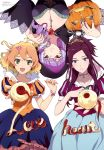 3girls absurdres apple blue_eyes bracelet breasts cleavage cosplay earrings food freyja_wion fruit halloween heart highres jack-o'-lantern jewelry large_breasts long_hair macross macross_delta mikumo_guynemer mirage_farina_jenius multicolored_hair multiple_girls nail_polish official_art pointy_ears ponytail purple_hair red_eyes shirakawa_ayako short_hair snow_white snow_white_(cosplay) snow_white_and_the_seven_dwarfs two-tone_hair