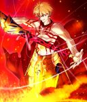1boy blonde_hair ea_(fate/stay_night) earrings gilgamesh holding holding_weapon jewelry red_eyes sen_(77nuvola) solo standing tattoo topless weapon