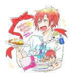 1boy :d amamiya_kanade cake character_doll character_name dorifesu! food gift happy_birthday high_ponytail male_focus open_mouth plate red_eyes shirt smile stuffed_animal stuffed_toy sunglasses sunglasses_removed t-shirt teddy_bear upper_body white_background yellow_eyes