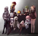6+girls ahoge aviator_sunglasses bare_shoulders belt beret black_boots black_gloves black_legwear blonde_hair blue_eyes boots braid breasts bullet chains character_request chin_rest cloel couch elbow_pads erect_nipples eyes_visible_through_hair full_body girls_frontline gloves goggles goggles_on_headwear green_eyes green_hair hair_ornament hair_over_one_eye hairclip hat helmet hexagram high_heel_boots high_heels highres holster long_hair looking_at_viewer m1918_bar_(girls_frontline) m60_(girls_frontline) medium_breasts mg3_(girls_frontline) mg4_(girls_frontline) mg5_(girls_frontline) military military_uniform miniskirt mk48_(girls_frontline) multiple_girls necktie negev_(girls_frontline) pantyhose pink_hair pleated_skirt red_eyes silver_hair single_braid sitting skirt smug standing star_of_david sunglasses sunglasses_on_head thigh-highs thigh_boots thigh_gap thigh_holster uniform very_long_hair white_gloves white_legwear yellow_eyes