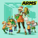 6+girls aqua_background arms_(game) beanie blonde_hair bob_cut dragon_(arms) full_body gift green_eyes green_shoes hat highres ishikawa_masaaki legwear_under_shorts logo mask min_min_(arms) multiple_girls nintendo official_art shikishi shoes shorts simple_background sneakers stuffed_toy surrounded tree