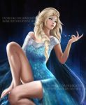 1girl blonde_hair blue_dress blue_eyes braid cape dress elsa_(frozen) eyeshadow frozen_(disney) hair_over_shoulder jackie_felix long_hair looking_to_the_side makeup off_shoulder single_braid solo watermark web_address