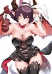 1girl ahoge alternate_costume animal_ears arms_up asymmetrical_arms bare_shoulders black_legwear black_leotard blush breasts brown_eyes bunny_girl bunnysuit choker cleavage dragon_girl dragon_horns dragon_tail dragon_wings eyebrows_visible_through_hair fake_animal_ears female fishnets granblue_fantasy grea_(shingeki_no_bahamut) hair_between_eyes hews_hack highres horns large_breasts legs leotard looking_at_viewer navel parted_lips pointy_ears purple_hair rabbit_ears red_choker red_ribbon ribbon ribbon_choker see-through shingeki_no_bahamut short_hair simple_background solo strapless strapless_leotard tail thigh-highs waist_cape white_background wings wrist_cuffs