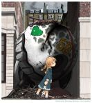 1girl blonde_hair blue_eyes braid building commentary damaged dress english floating_fortress_(kantai_collection) following holding_doll kantai_collection kitsuneno_denpachi long_sleeves shadow shinkaisei-kan smoke solo stuffed_animal stuffed_toy twin_braids