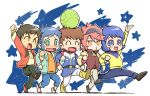5boys amuro_ray blue_hair brown_hair graphite_(medium) gundam gundam_build_fighters gundam_zz haro iori_sei judau_ashta kamille_bidan mobile_suit_gundam multiple_boys redhead reiji_(gundam_bf) short_hair traditional_media usikani zeta_gundam