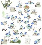 artist_request backpack bag bowl bucket_hat entangled food frozen grass hat hat_feather hologram ice in_bag in_container in_hat japari_bun jumping kemono_friends leaf lucky_beast_(kemono_friends) mirai_(kemono_friends) multiple_views no_humans object_on_head plant source_request steering_wheel striped_tail trembling upside-down vines weeding