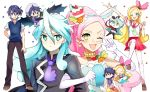 1boy 1girl ;d animal_ears blonde_hair blue_hair brother_and_sister chibi cure_parfait dress dual_persona elbow_gloves food_themed_hair_ornament gloves hair_ornament hairband horse_ears houhou_(black_lack) julio_(precure) kirahoshi_ciel kirakira_precure_a_la_mode locked_arms magical_girl one_eye_closed open_mouth pink_hair pleated_skirt precure school_uniform serafuku siblings skirt smile star star-shaped_pupils sweater_vest symbol-shaped_pupils thigh-highs v_over_eye white_gloves white_legwear