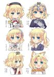 +++ 1girl alternate_hairstyle animal_ears beret black_hat black_ribbon blazer blonde_hair blue_eyes blush bow bowtie braid chains clenched_hands closed_mouth collared_shirt commentary_request cosplay cup detached_collar elbow_gloves epaulettes eyebrows_visible_through_hair fate/apocrypha fate_(series) fingers_together flower flying_sweatdrops gauntlets gloves gochuumon_wa_usagi_desu_ka? hair_flower hair_ornament hair_ribbon hairband hand_on_own_chest hat headpiece hidamari_sketch himarisu_(hida_mari) interlocked_fingers jacket kantai_collection kashima_(kantai_collection) kashima_(kantai_collection)_(cosplay) kemono_friends kirima_sharo lolita_hairband looking_at_viewer multiple_views nazuna nazuna_(cosplay) neck_ribbon new_game! open_mouth parted_lips re:zero_kara_hajimeru_isekai_seikatsu red_ribbon rem_(re:zero) rem_(re:zero)_(cosplay) ribbon ruler_(fate/apocrypha) ruler_(fate/apocrypha)_(cosplay) saucer school_uniform serval_(kemono_friends) serval_(kemono_friends)_(cosplay) serval_print shirt short_hair short_sleeves suzukaze_aoba suzukaze_aoba_(cosplay) sweatdrop tea teacup twintails upper_body white_background white_shirt wing_collar x_hair_ornament