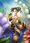 1girl bare_shoulders bee_girl bendy_straw black_gloves braid breasts bun_cover candy cleavage double_bun drinking_straw elbow_gloves flower food genderswap genderswap_(mtf) gloves insect_girl insect_wings jewelry lily_of_the_valley looking_at_viewer lucky9 necklace original personification sitting striped striped_legwear sweets wings yellow_eyes