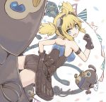 1girl :d ahoge ass bare_shoulders bird black_gloves blonde_hair blue_eyes breasts erect_nipples fang gloves goggles goggles_on_head granblue_fantasy hand_on_hip head_back leotard llg.hakua looking_at_viewer looking_back mecha medium_breasts open_mouth pantylines pengie penguin plug robot short_hair short_twintails smile strapless strapless_leotard twintails