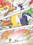 battle bisharp comic fire highres infernape noel_(noel-gunso) pokemon pokemon_(creature)