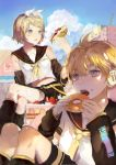 1boy 1girl absurdres black_shorts blonde_hair blue_eyes cake day detached_sleeves doughnut food green_eyes hair_between_eyes hair_ribbon hairband headphones highres kagamine_len kagamine_rin koaoto legs_crossed midriff neckerchief necktie open_mouth outdoors ribbon shirt short_hair short_shorts short_sleeves shorts sitting sleeveless sleeveless_shirt star star_print stomach tongue tongue_out vocaloid white_hairband white_ribbon white_shirt yellow_neckerchief yellow_necktie