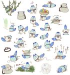 backpack bag bowl bucket_hat entangled food frozen grass hat hat_feather hologram ice in_bag in_container in_hat japari_bun jumping kemono_friends kyouno leaf lucky_beast_(kemono_friends) mirai_(kemono_friends) multiple_views no_humans object_on_head plant steering_wheel striped_tail translated trembling upside-down vines weeding