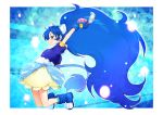 1girl animal_ears arm_up blue_eyes blue_gloves blue_hair blue_jacket boots bubble_skirt cure_gelato earrings extra_ears fang female full_body gloves jacket jewelry kazuma_muramasa kirakira_precure_a_la_mode lion_ears lion_tail long_hair looking_at_viewer magical_girl precure short_sleeves skirt smile solo tail tategami_aoi